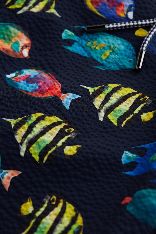 Lange Boxer-Badehose mit Fisch-Print