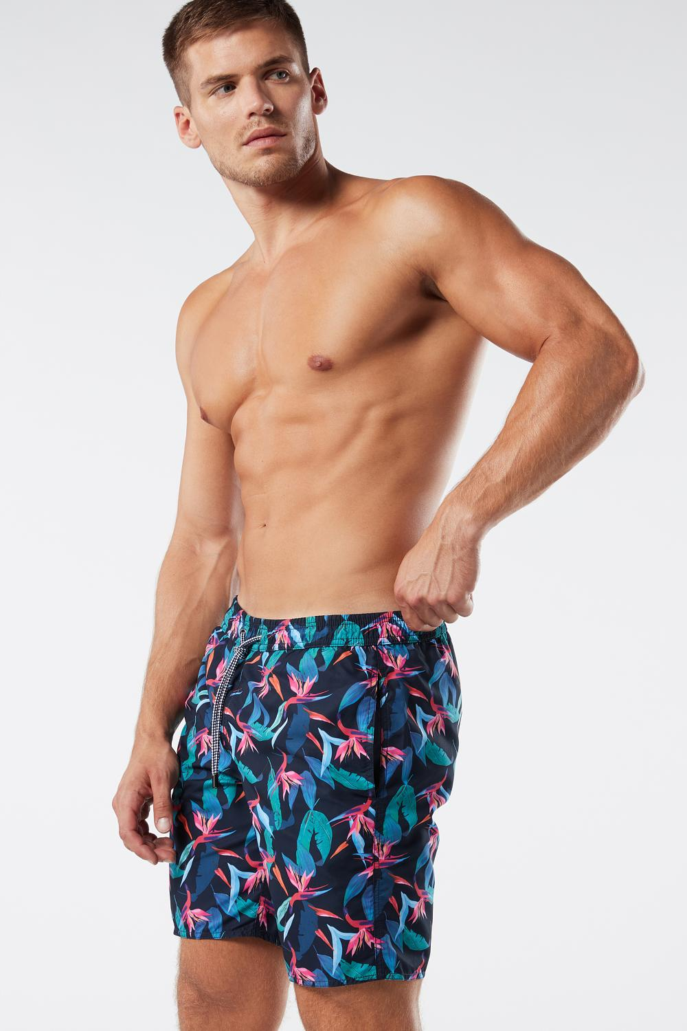 Leaf Print Long Swim Shorts