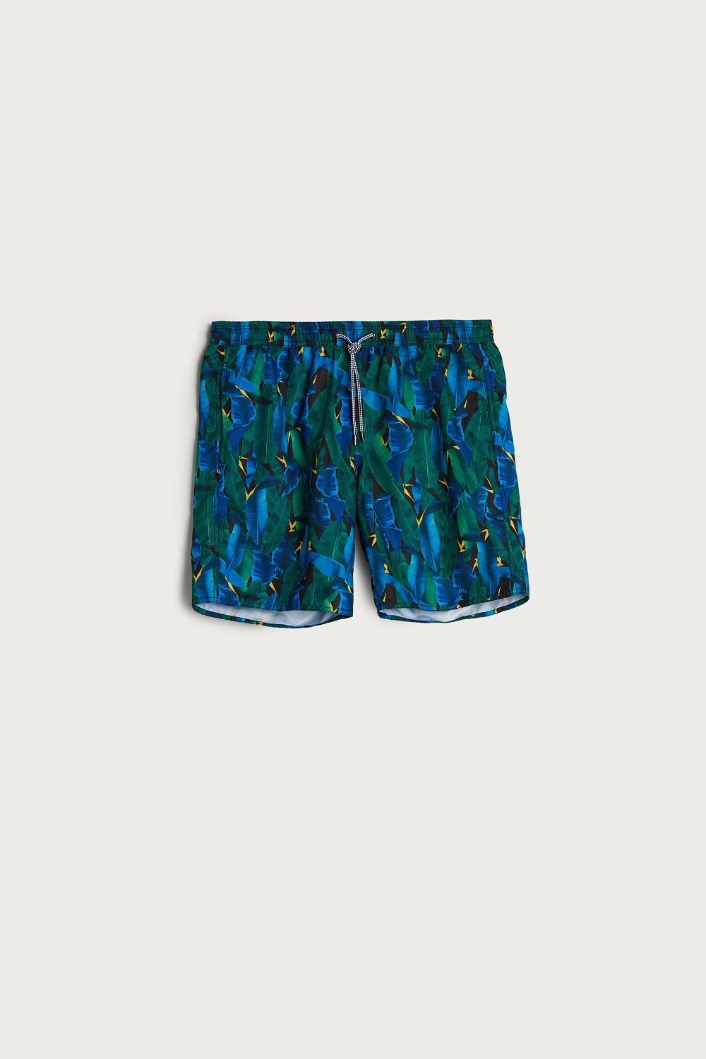 Banana Leaf Print Long Swim Shorts