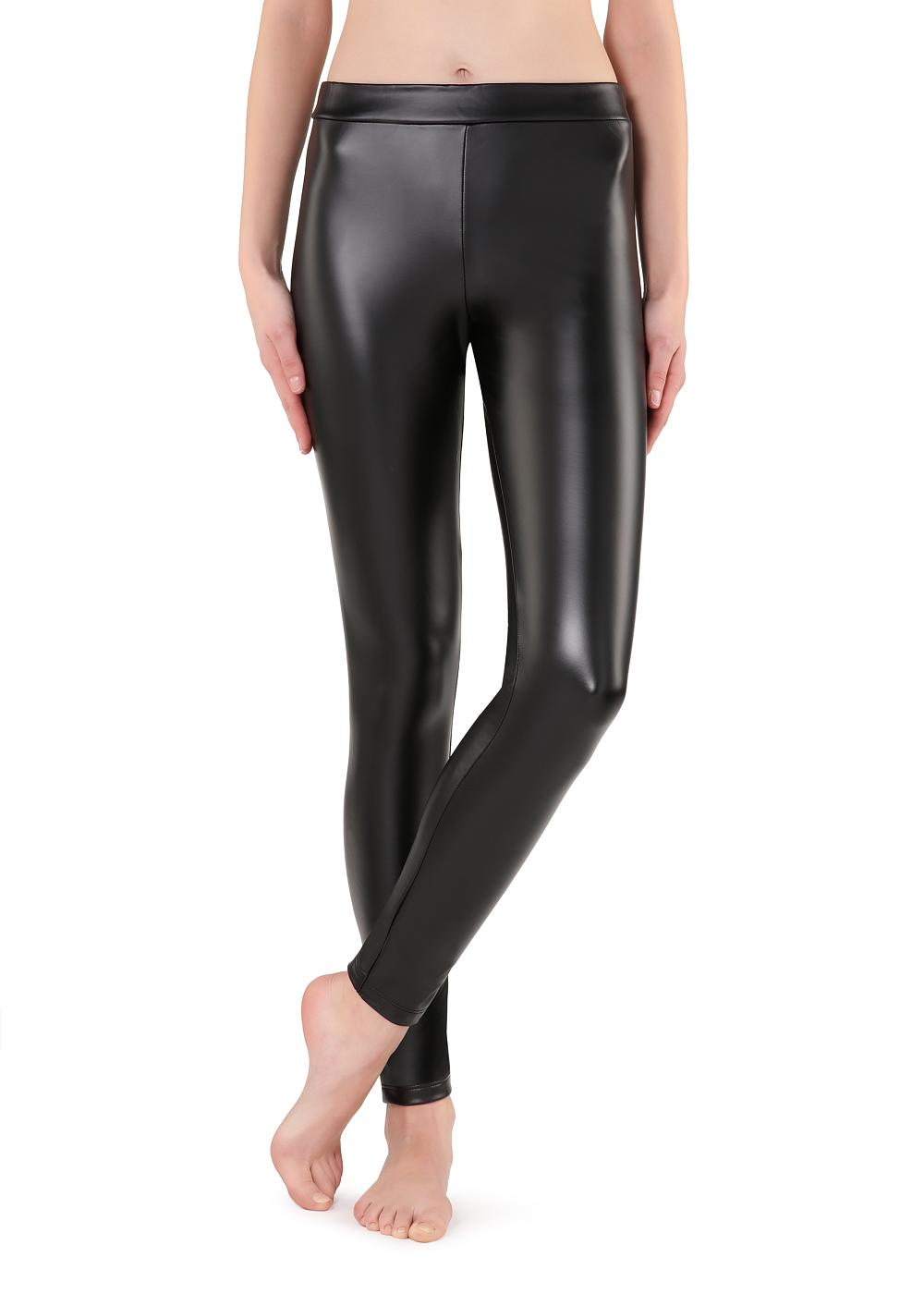 Thermal leather-effect leggings