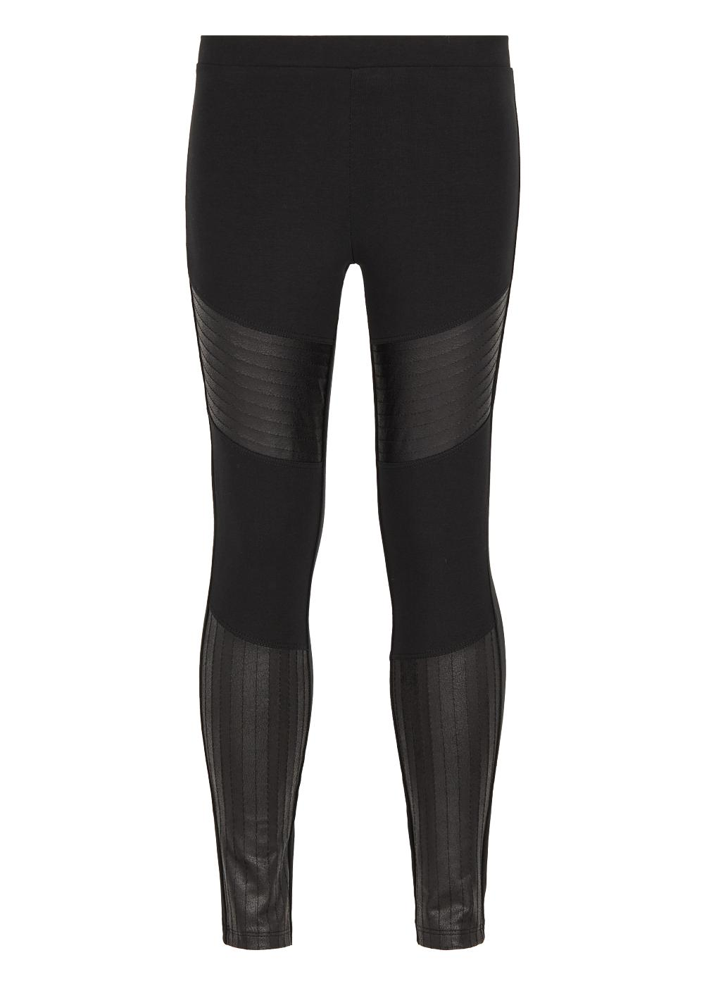 Cotton leggings with leather look biker style inserts