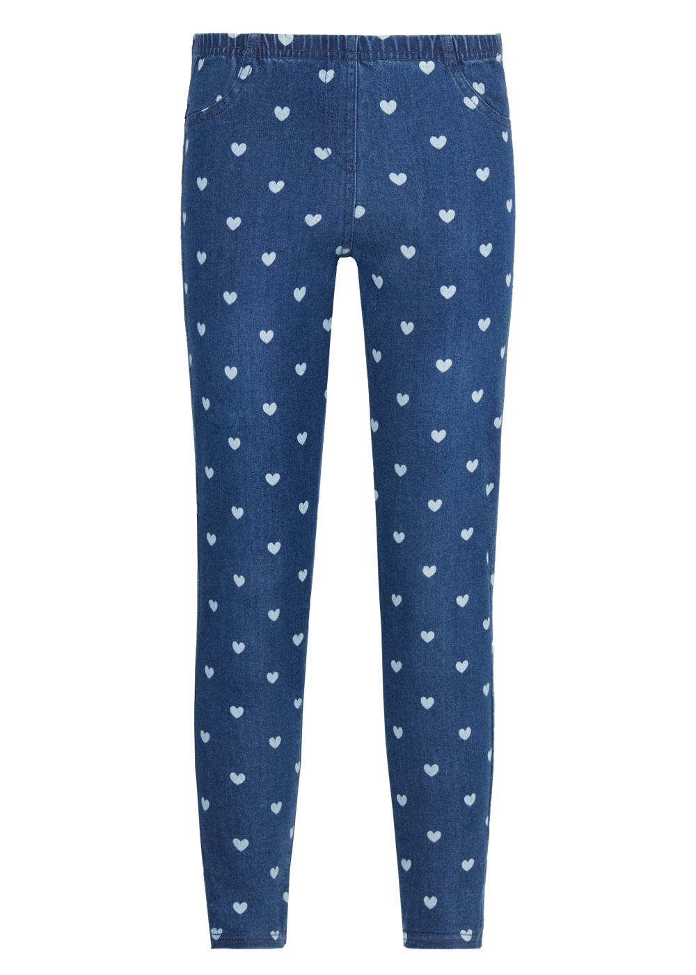 Jeggings Denim Stampa Cuori