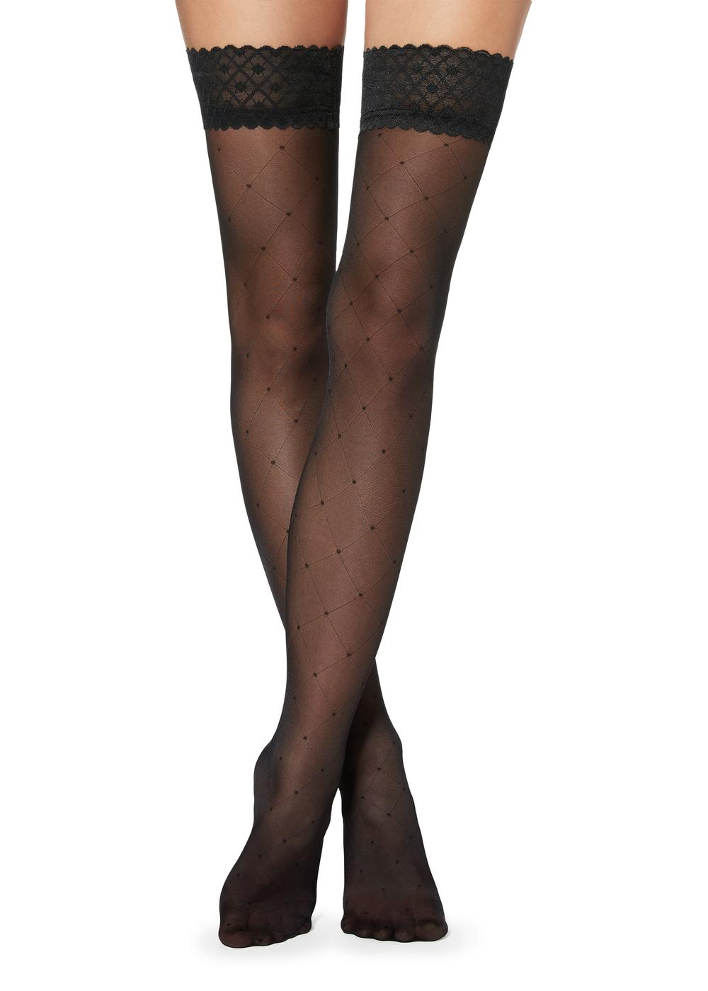 Diamond and polka dot patterned hold-ups with tulle top