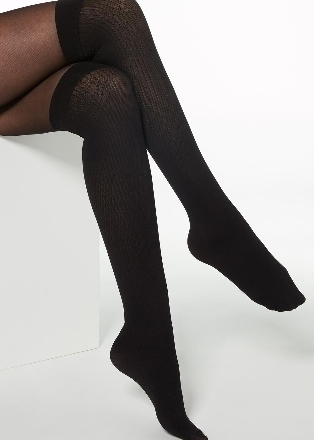 Mock over the Knee Ribbed Tights
