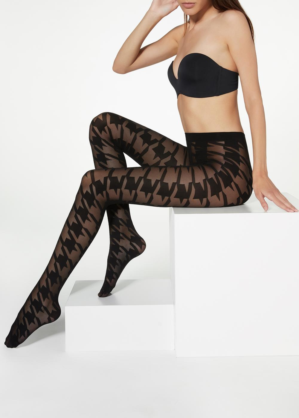 Macro Houndstooth Tights
