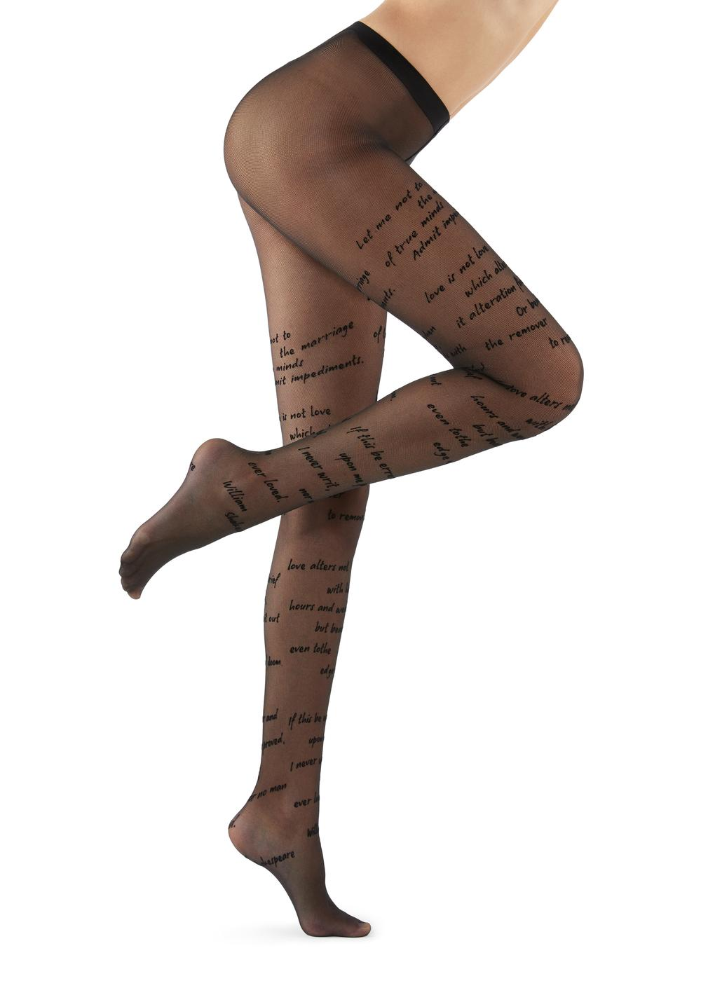 Flocked Text Print Tights