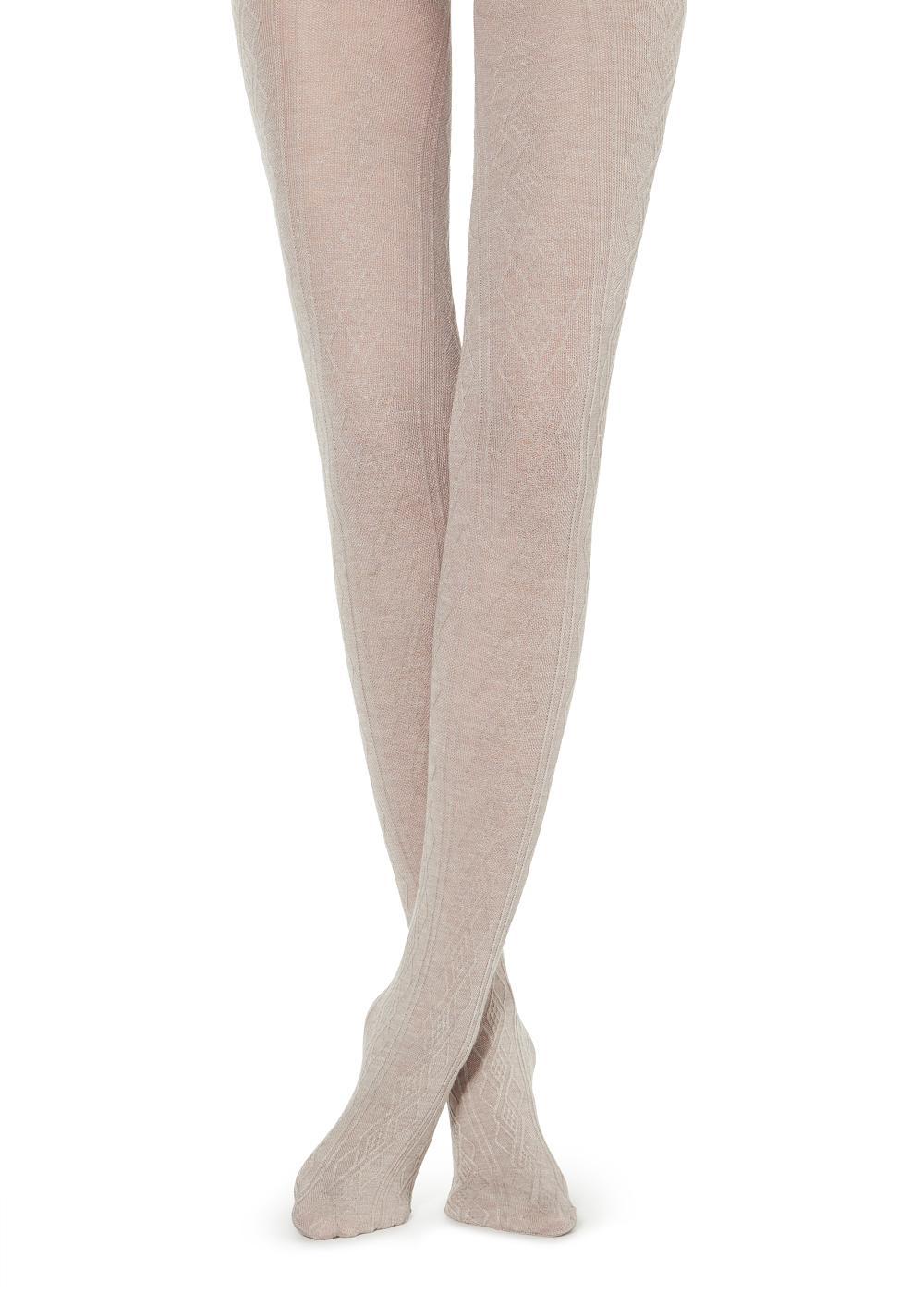 Gerippte Damenstrumpfhose aus Cashmere