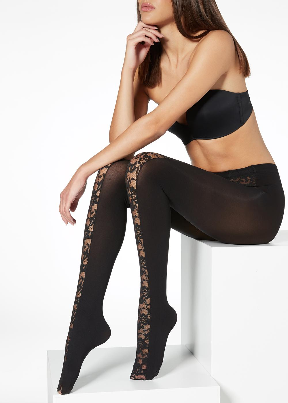 Lace-Detail Tights