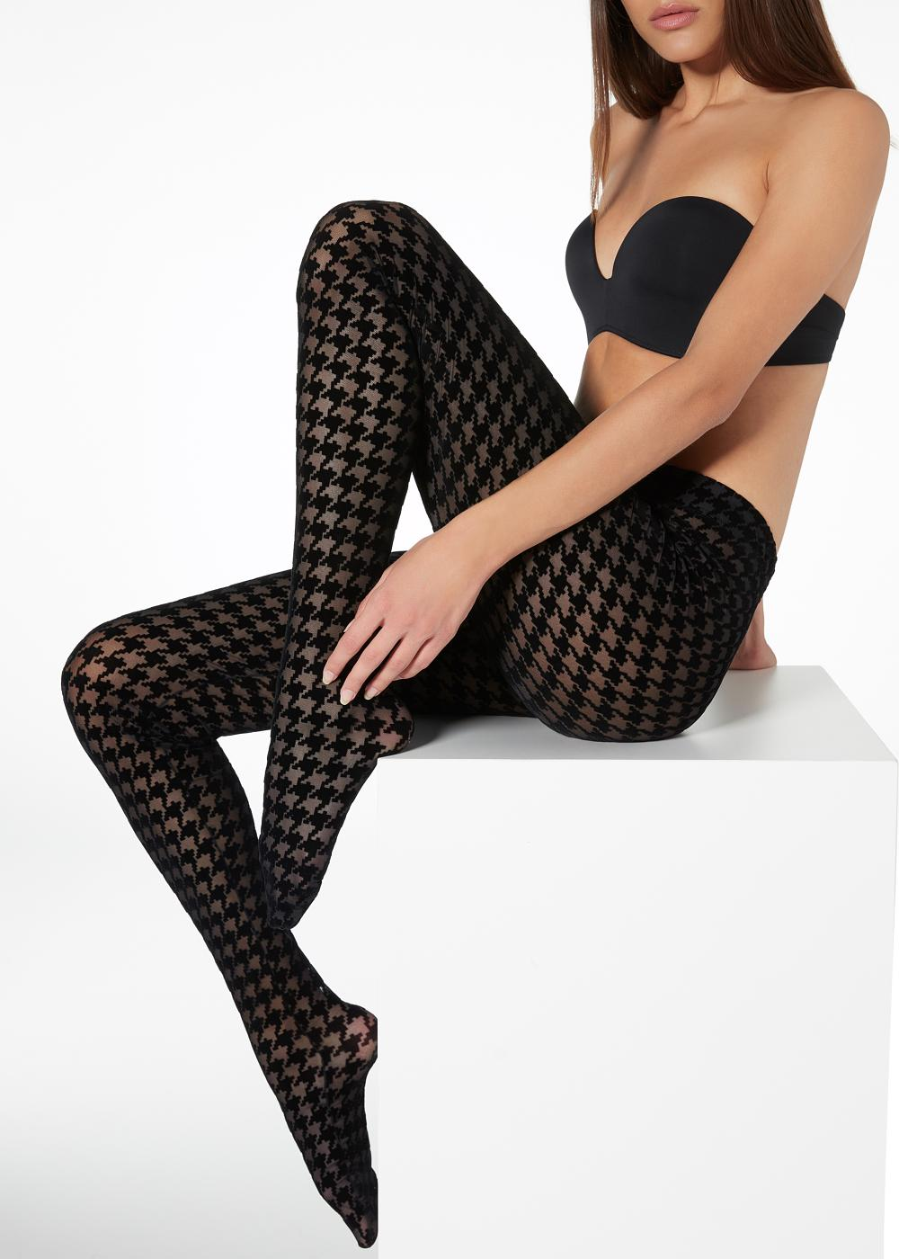 Collants de Rede Pied-de-poule Flocados
