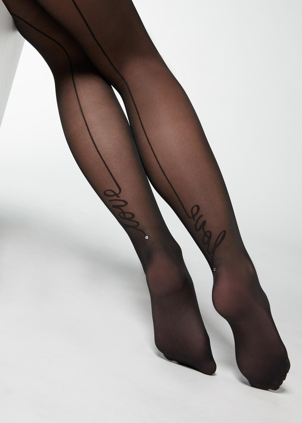 Sheer tights with back seam and rhinestone