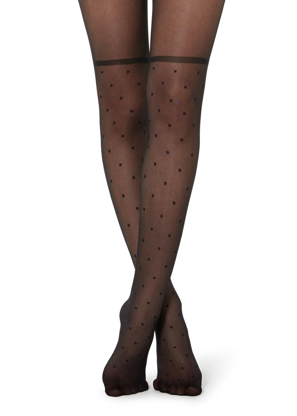 Diamond-patterned longuette tights