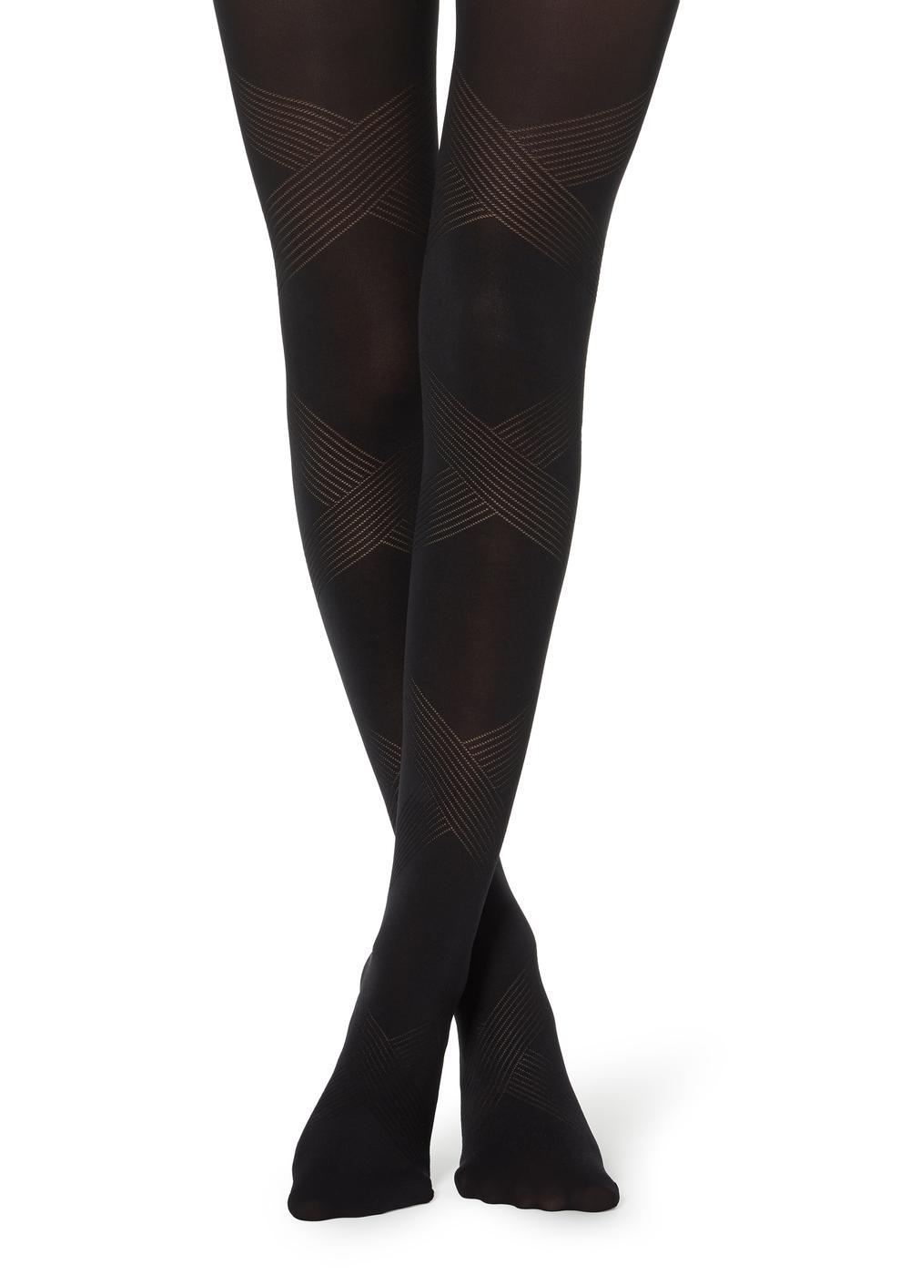Opaque crisscross tights