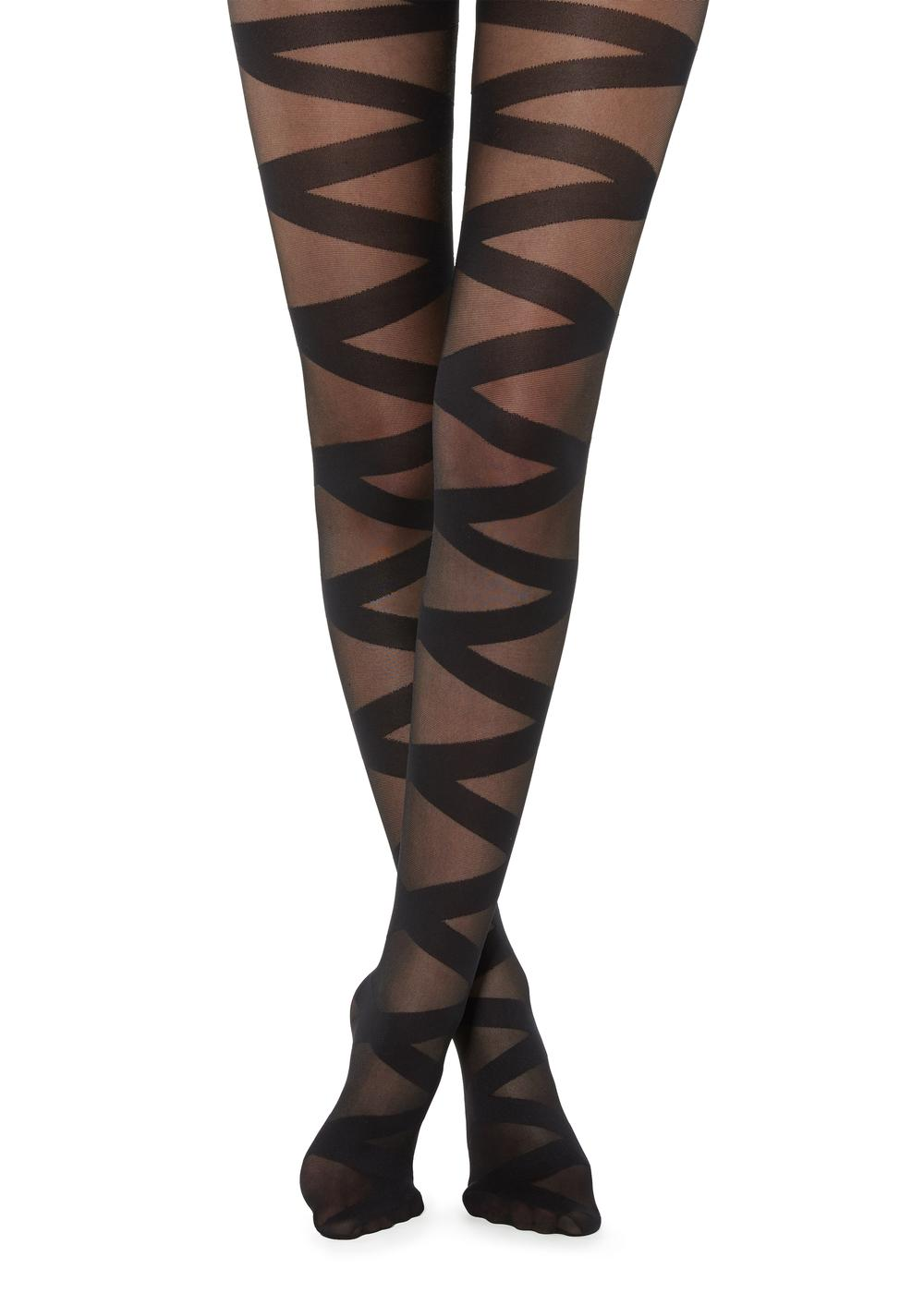 Crisscross sheer tights
