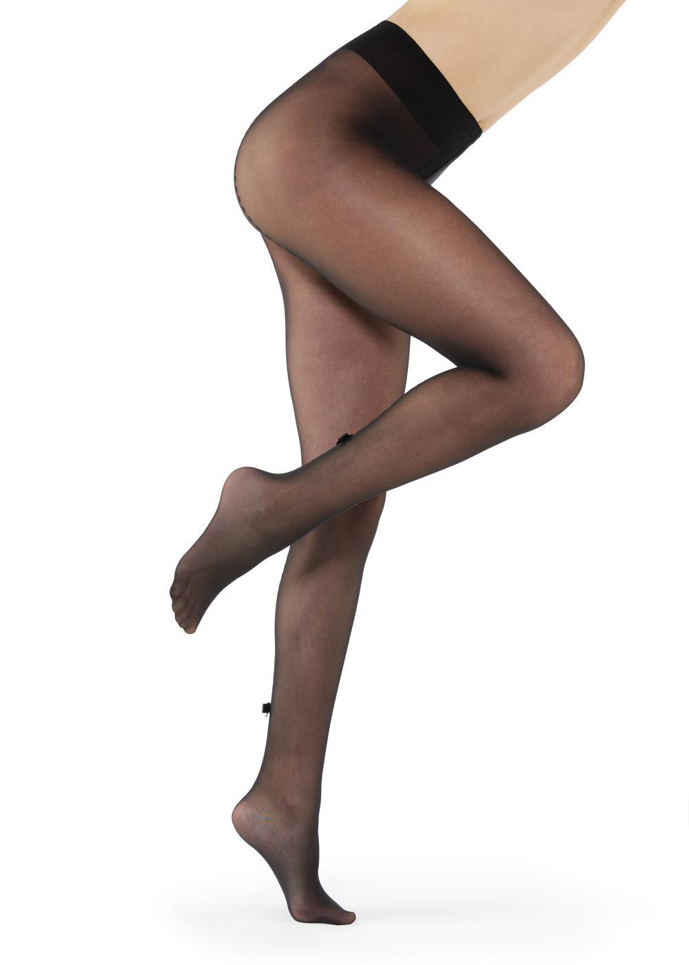 Collants fins opaques avec ligne au dos et nœud
