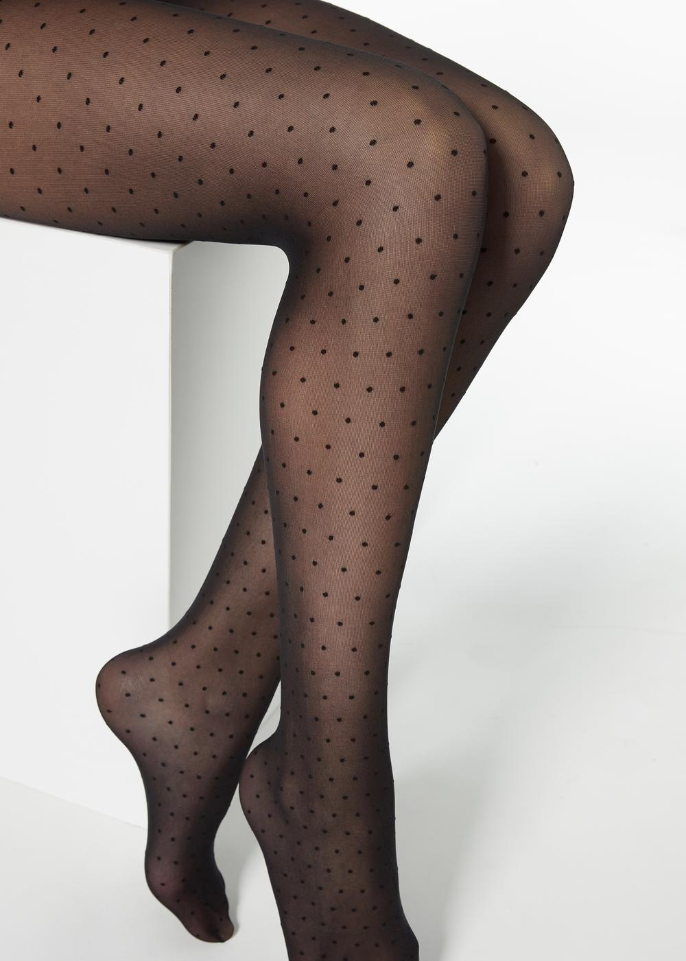 Sheer micro polka dot tights