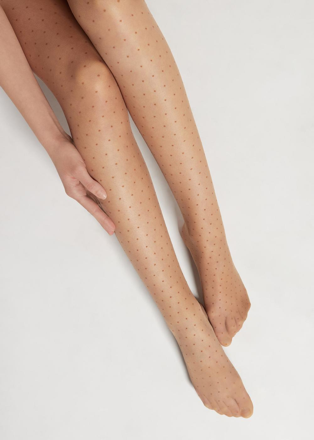 Sheer micro polka dot tights