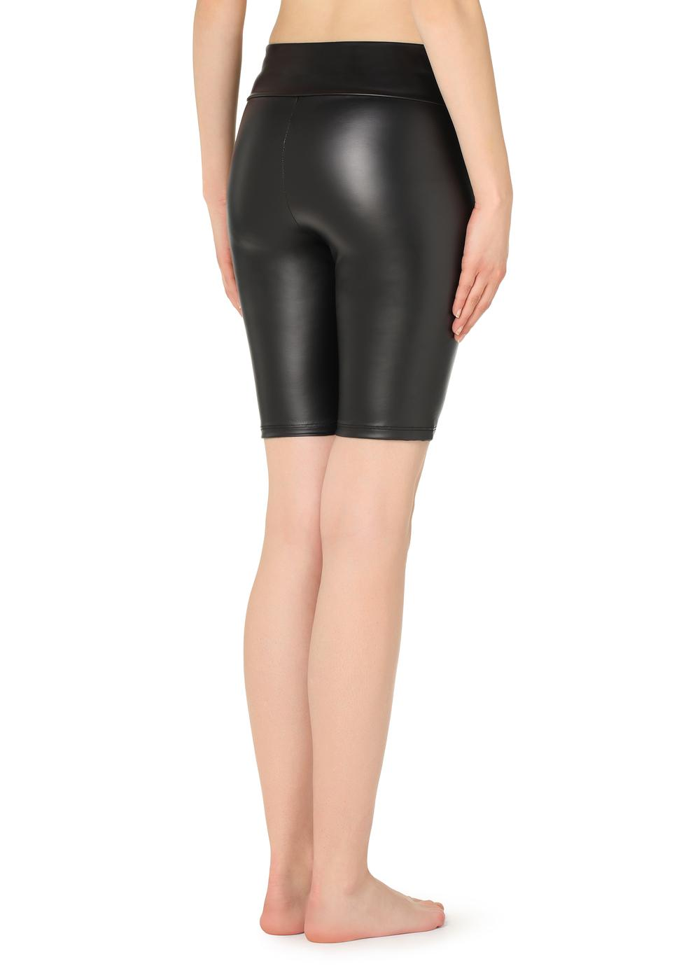 Leather-effect cycling shorts