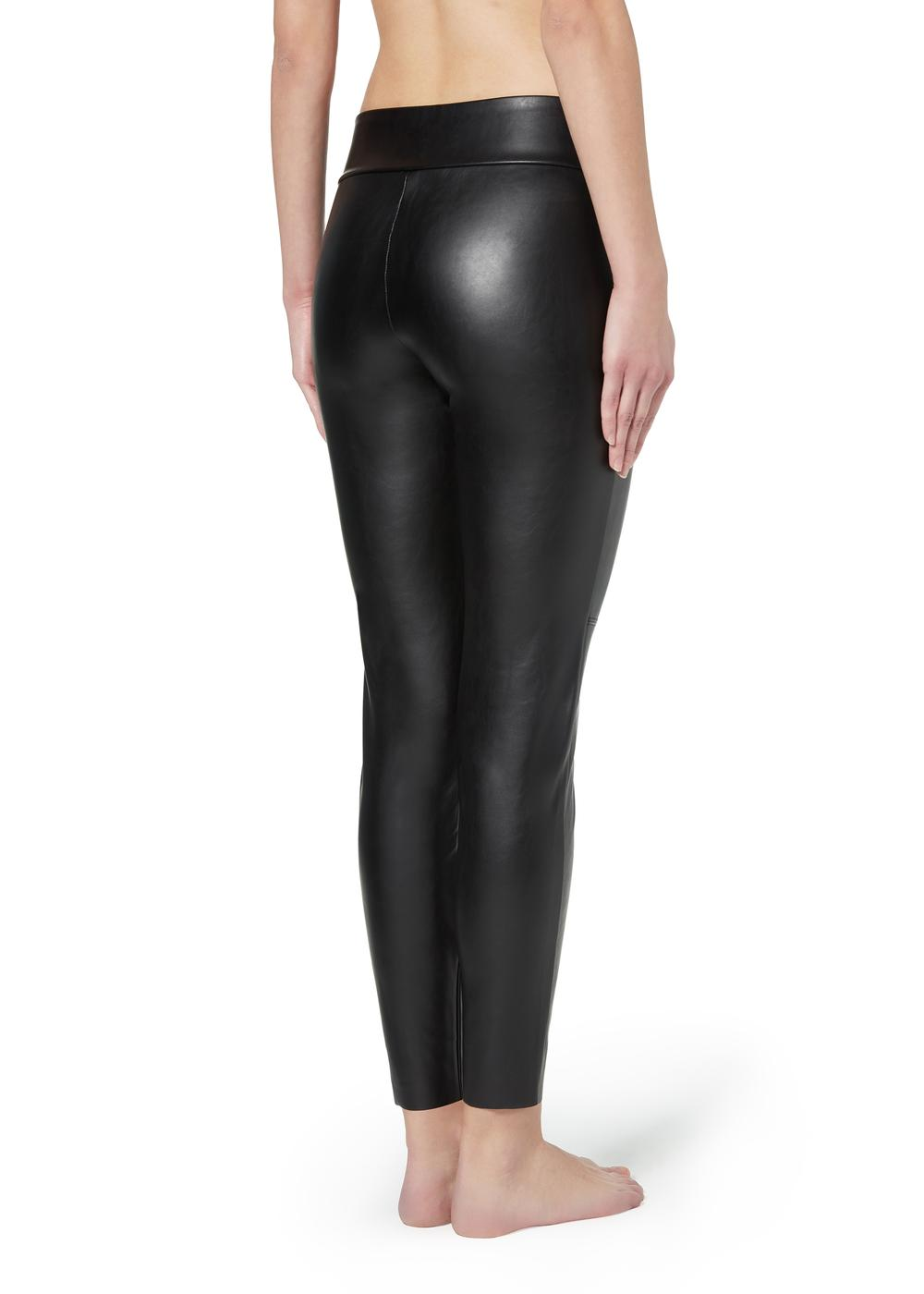 Leather-look thermal leggings with raw cut trim