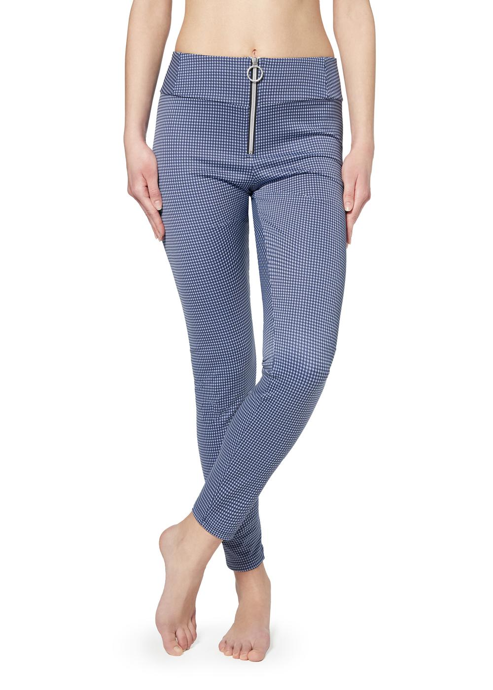 Stretch leggings with central zip