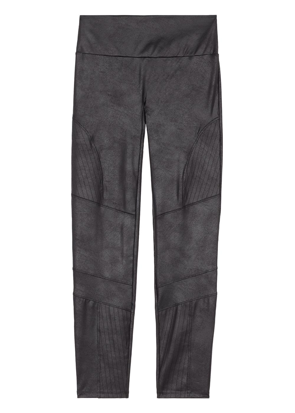 Leather-look total shaper biker leggings