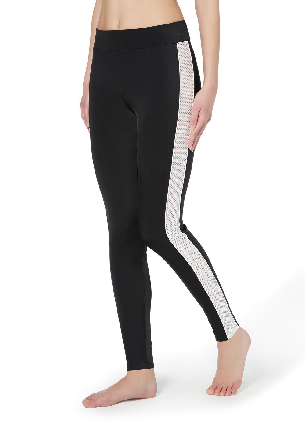 Leggings with glittery micronet band and piping