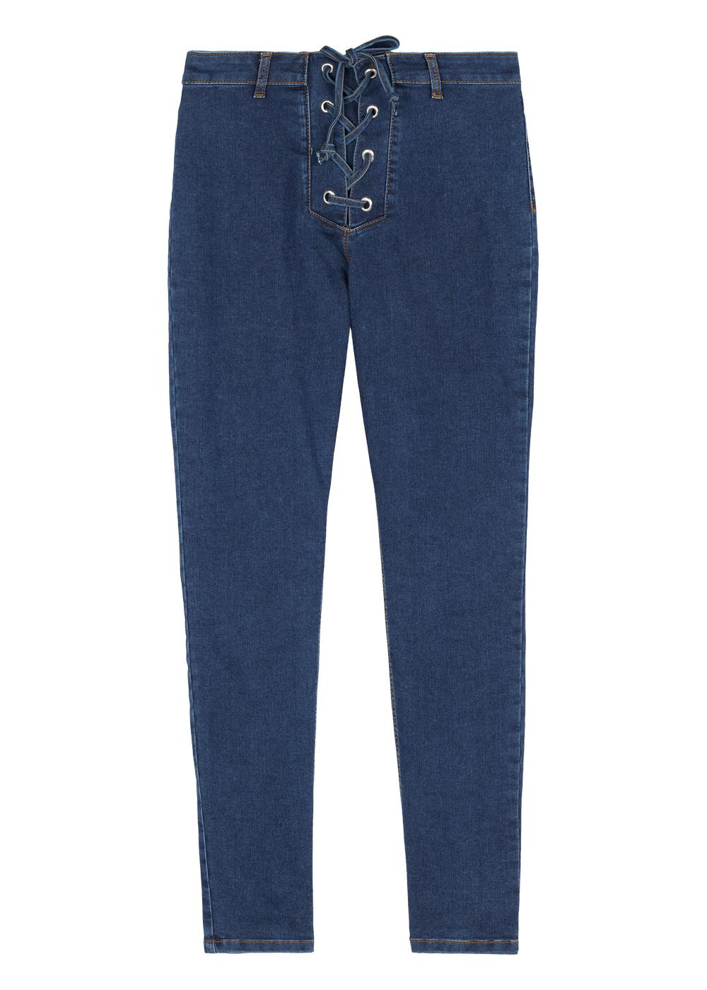 Denim leggings with crisscross pattern and detail at the waist