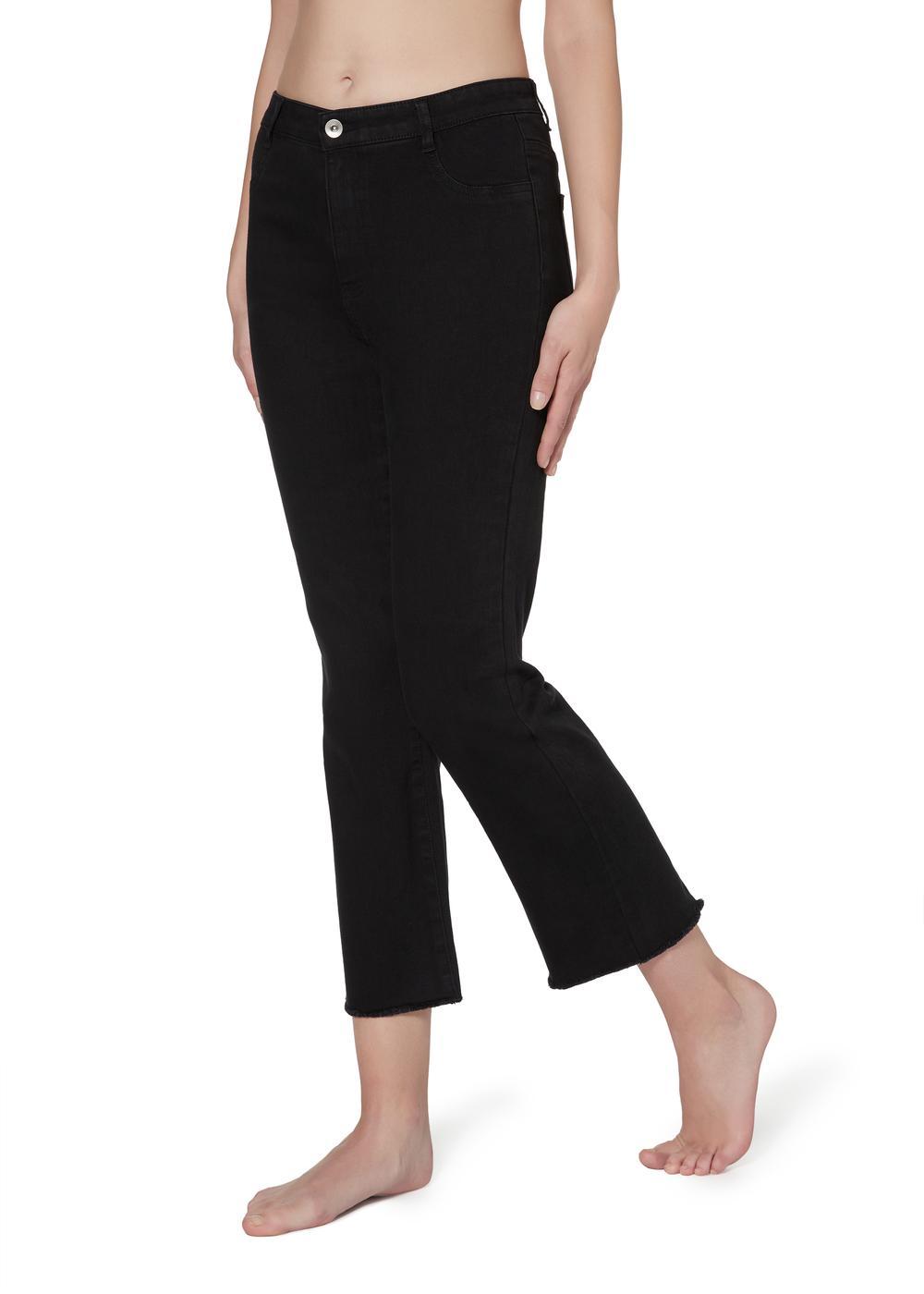Cropped-Flare-Jeans mit Reißverschluss und Taschen