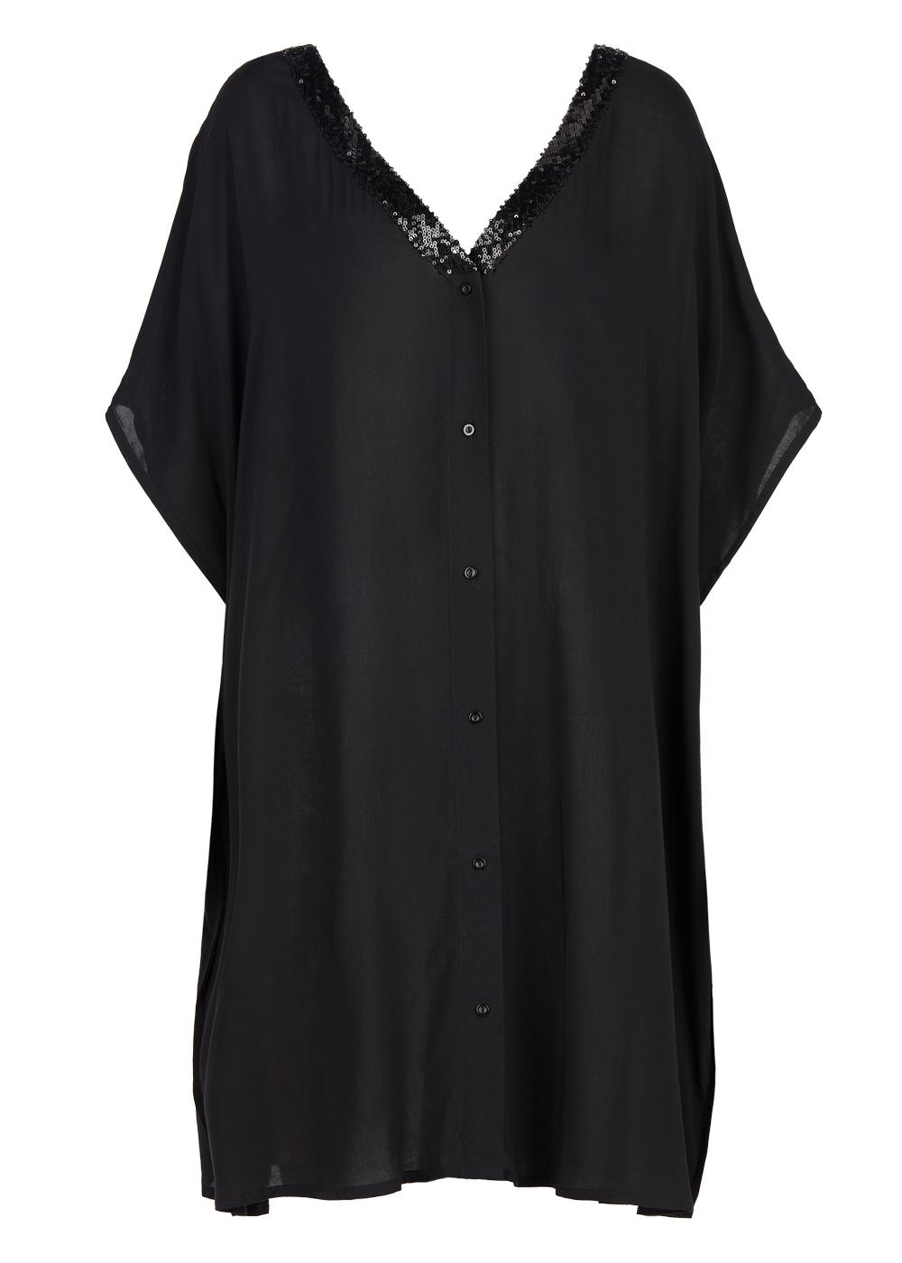 V-neck kaftan with sequins and front buttons