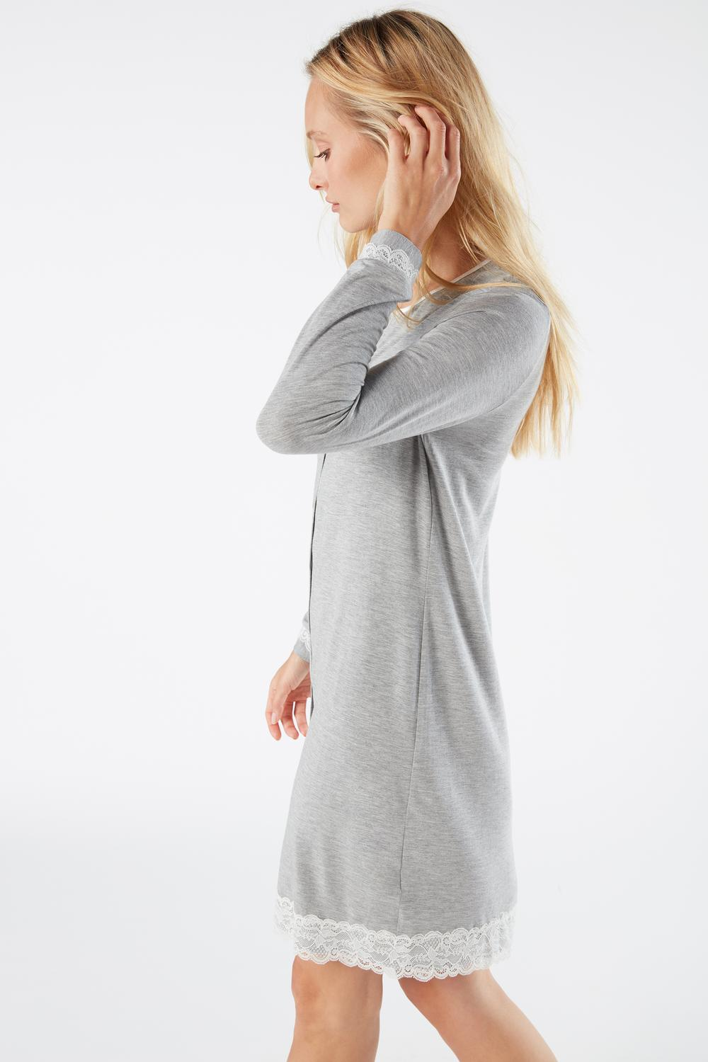 Button-Front Nightdress with Lace Detail