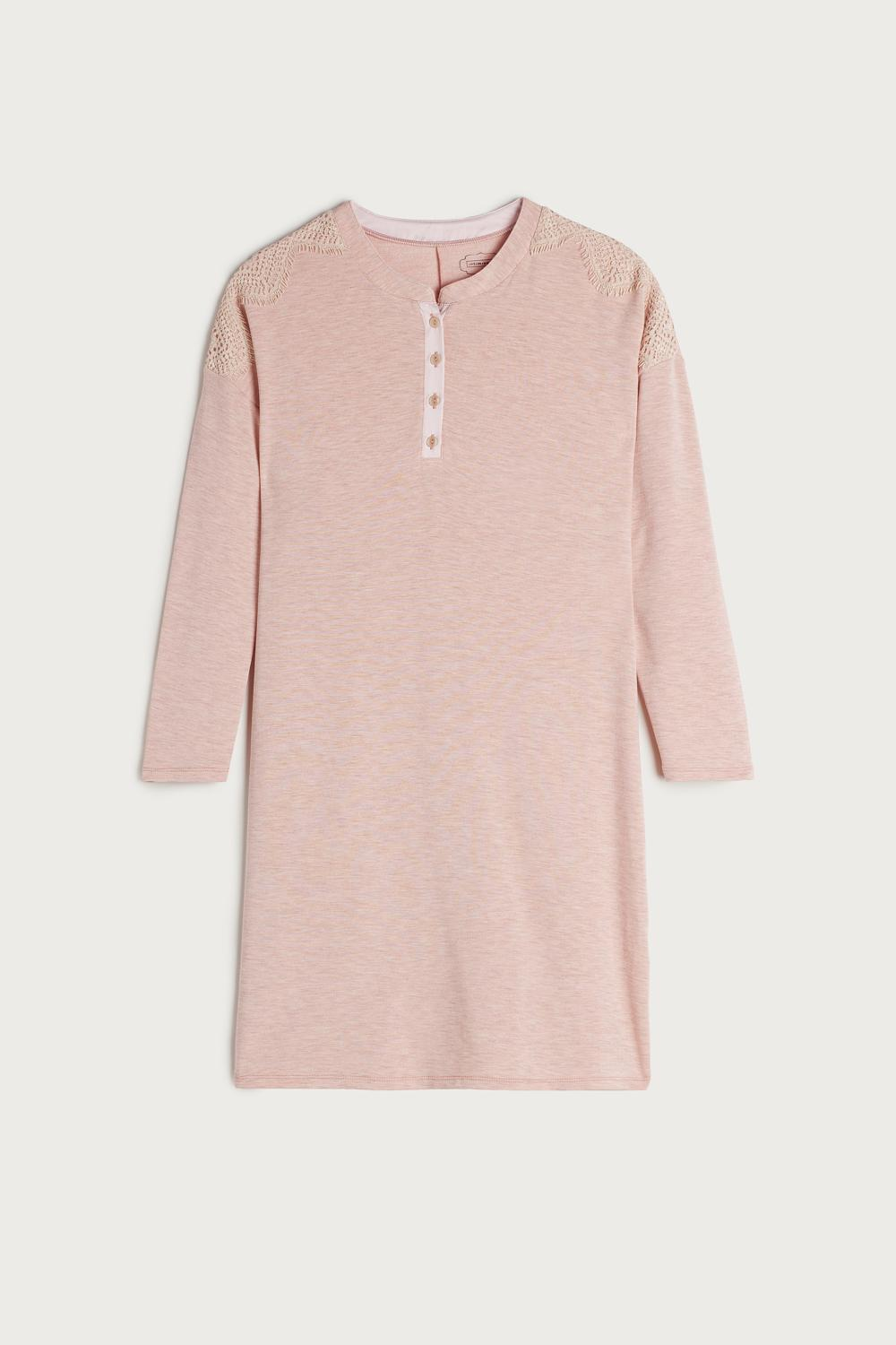 Modal and Cashmere Nightgown with Lace Detail