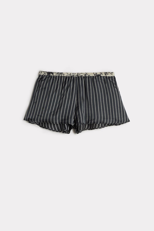 Grey Deco Viscose Satin Shorts