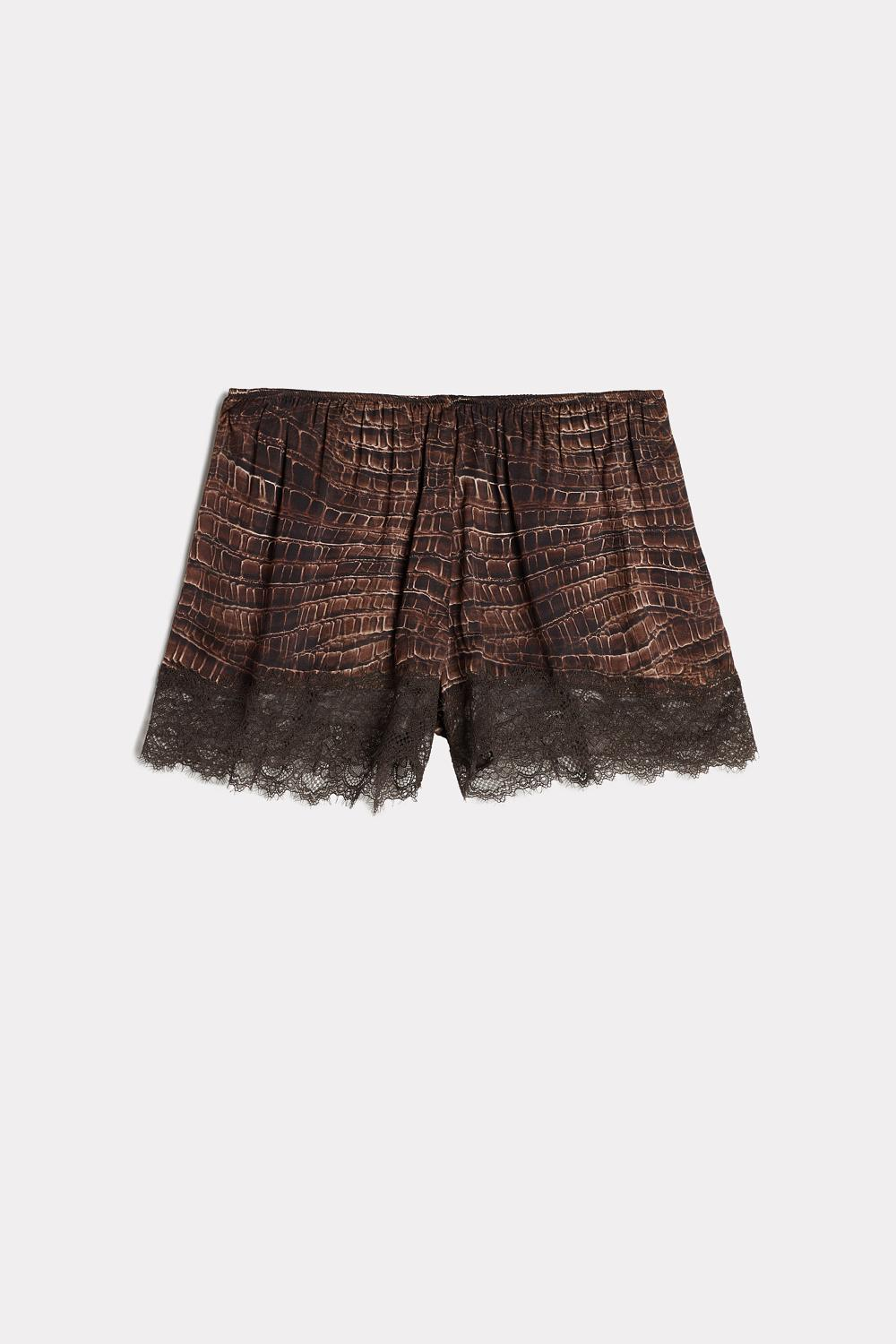 Short en Satin de Viscose Crocodile Lady