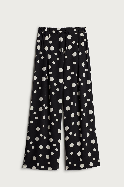Satin Dots Viscose Satin Trousers