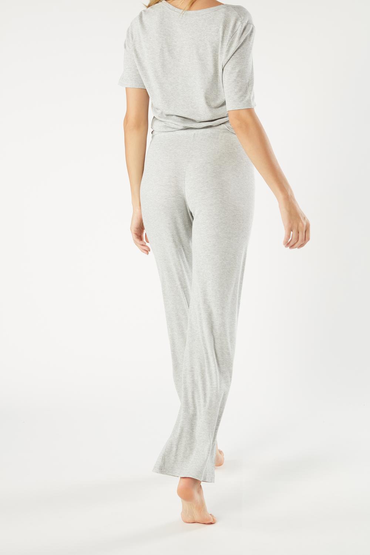 Ribbed Modal Blend Wide-Leg Pants