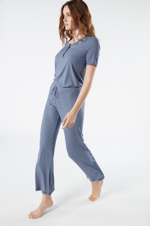 Pantalone a Costine in Modal Melange