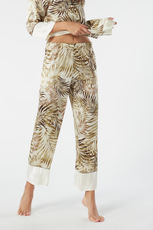Pantaloni a Palazzo in Seta Jungle