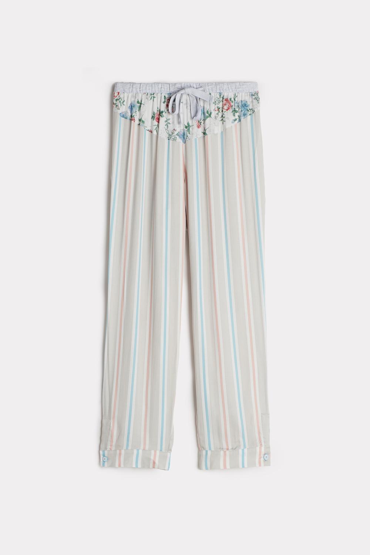 Pantaloni del Pigiama in Viscosa a Righe