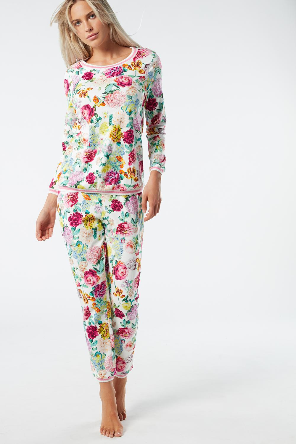 Multicolor Flower Print Cotton Pajama Set