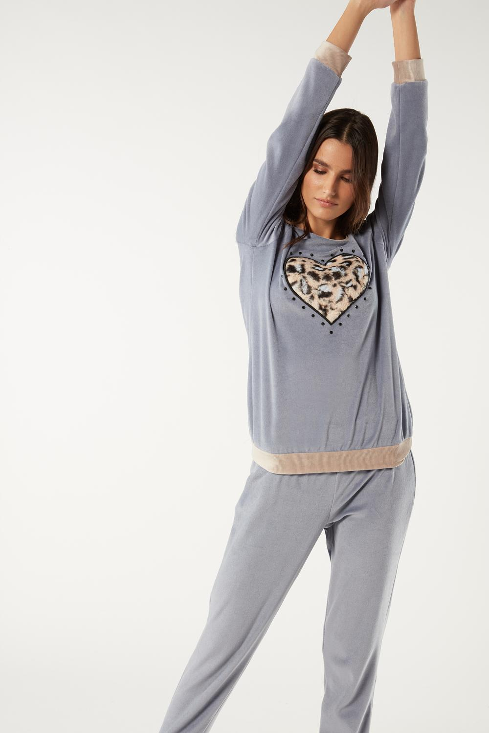 Long Pyjama with Leopard Heart