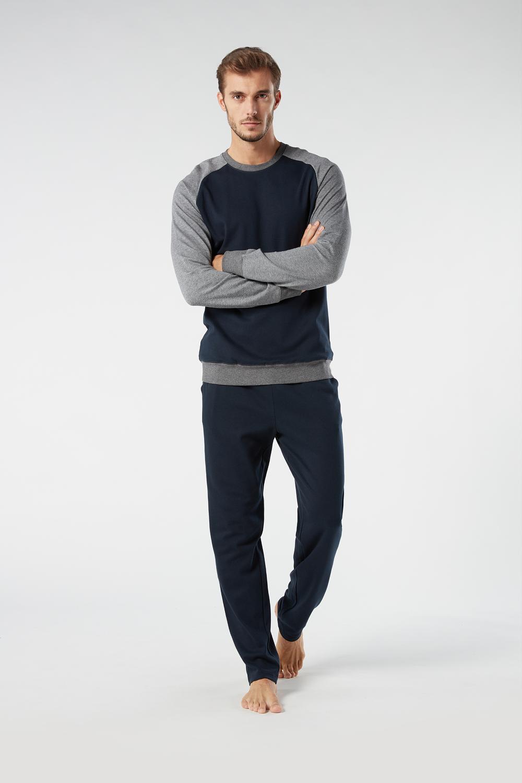 Langer Pyjama aus warmer Baumwolle