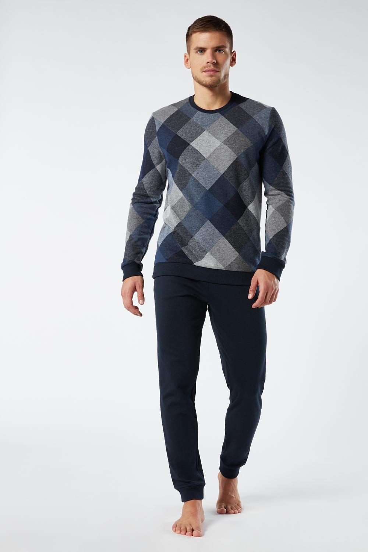 Long Rhombes Pyjama in Jaquard Denim