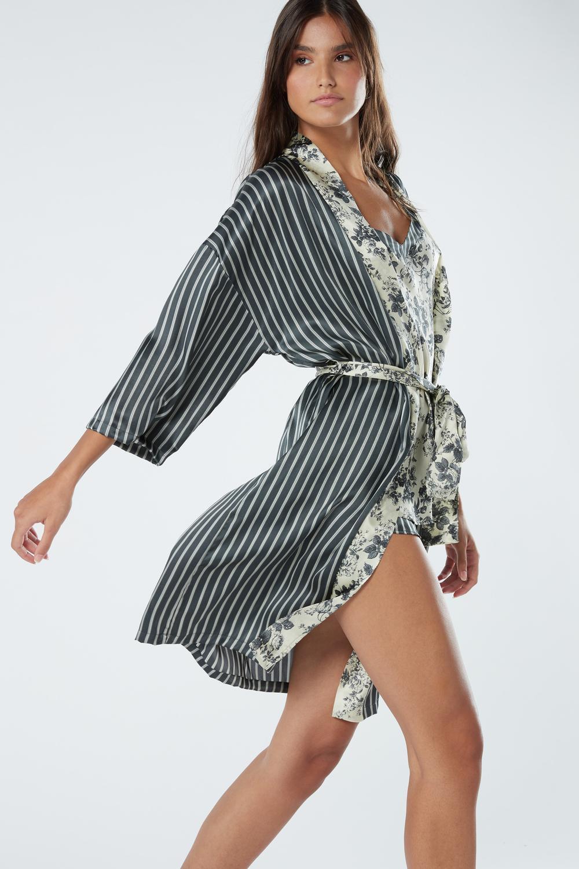 Grey Deco Silk Kimono