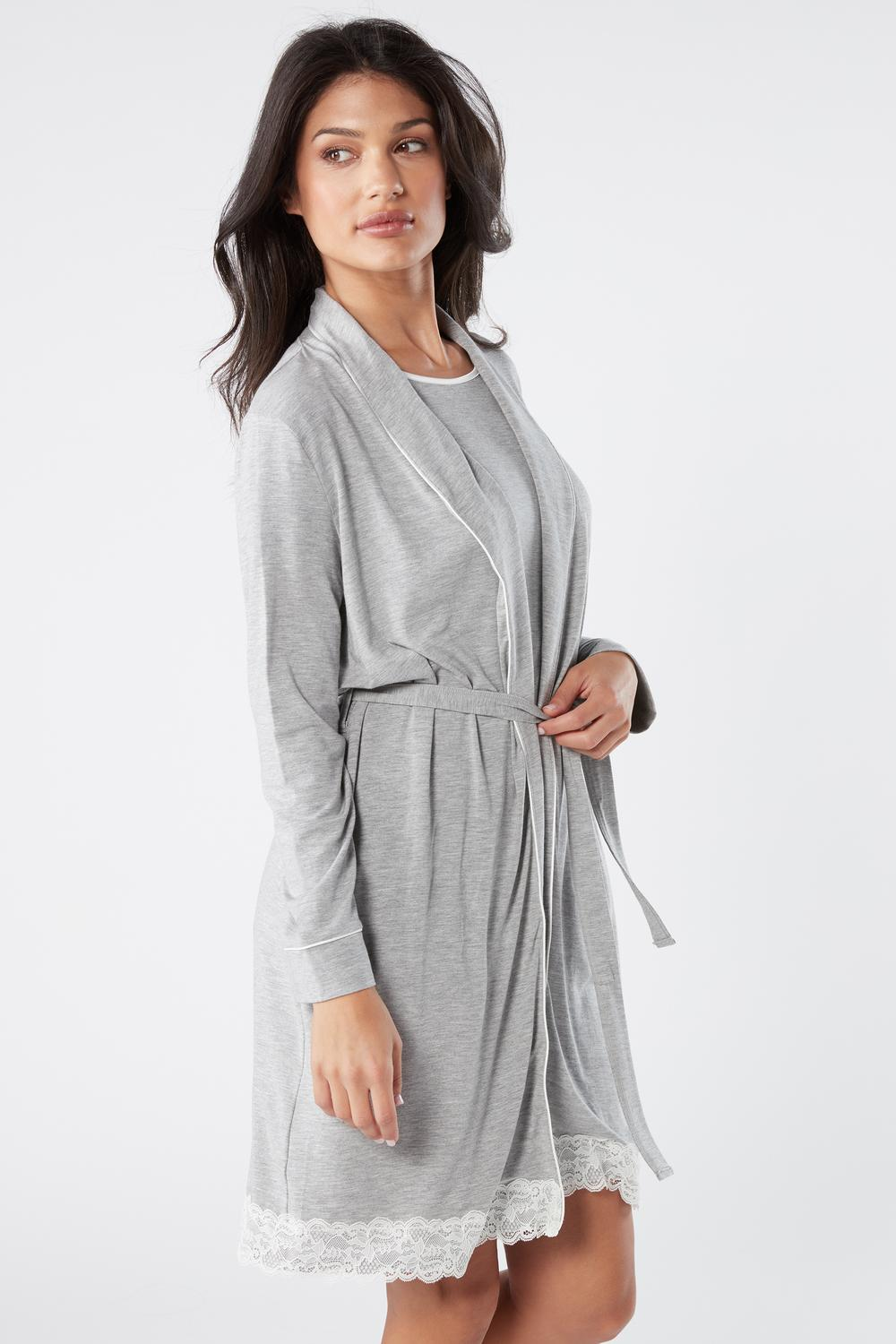 Modal Robe with Lace Detail