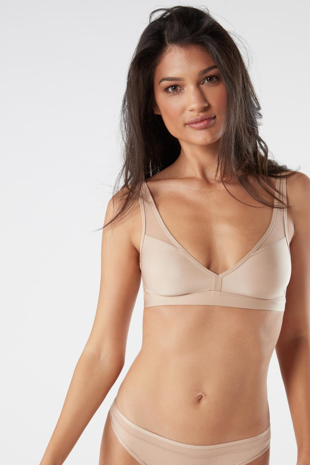 Reggiseno Triangolo in Microfibra Ultra Light e Tulle