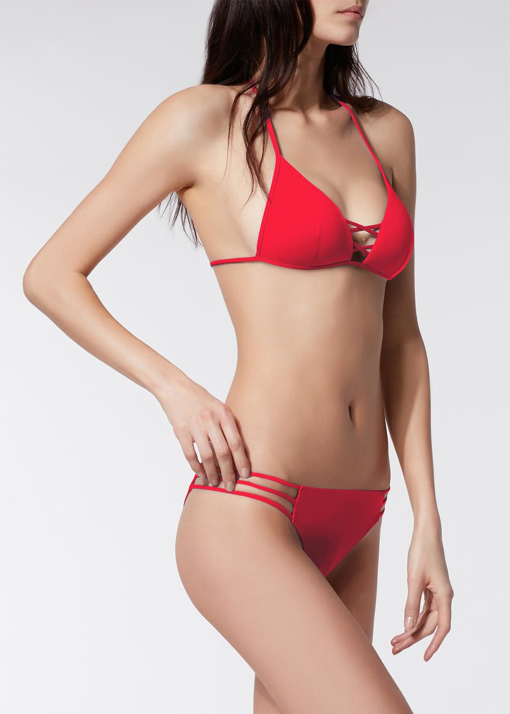 Indonesia Triangle-Top Padded Bikini with Ties