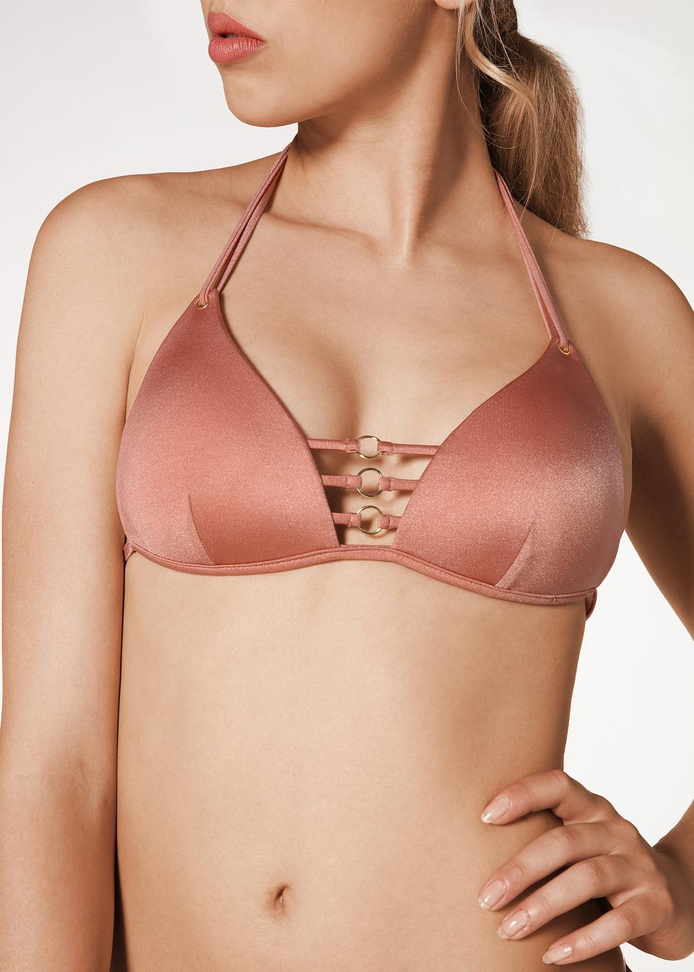 Deborah triangle bikini top with rings