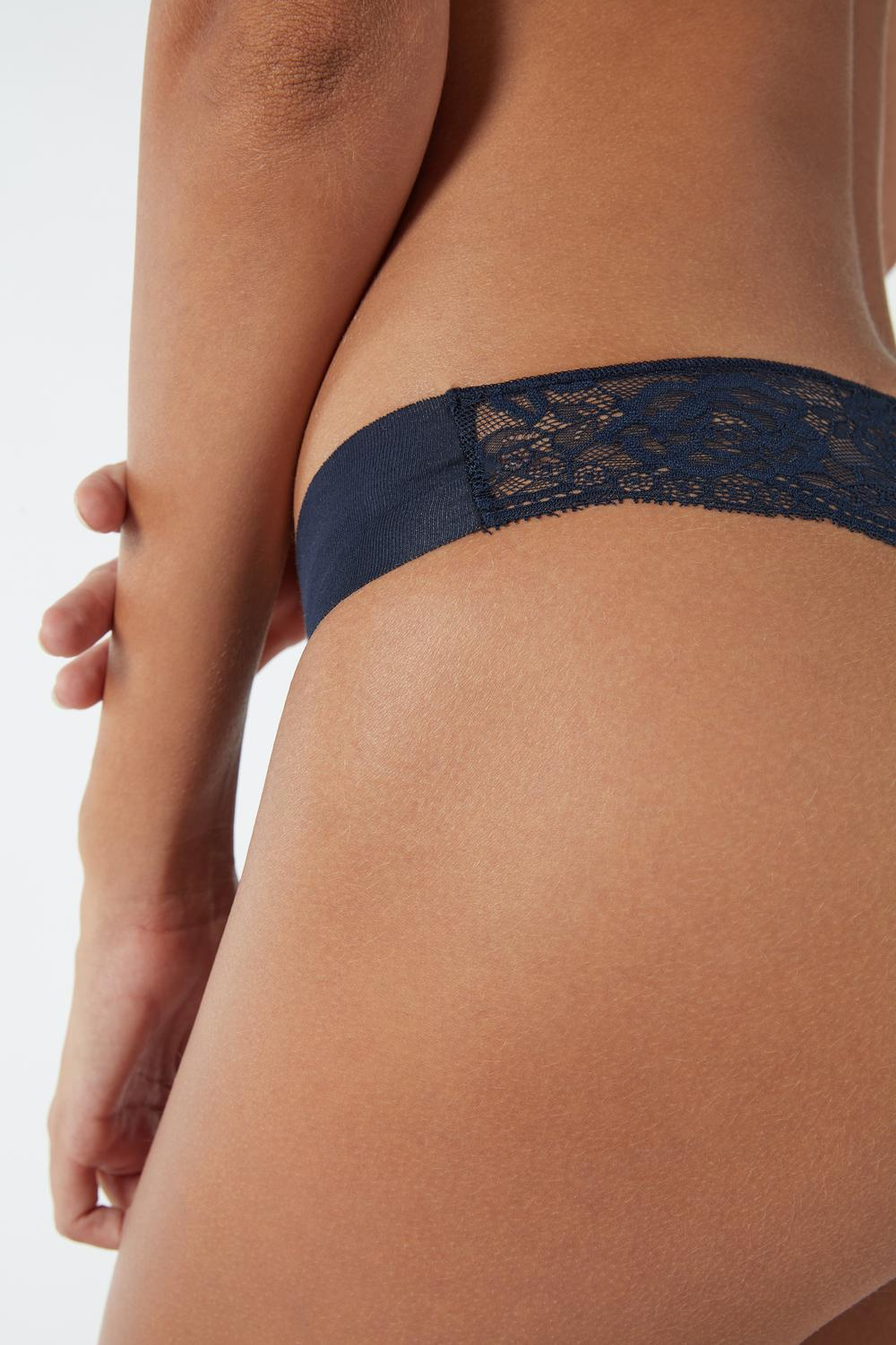 Lace and Raw-Cut Cotton Brazilian Briefs