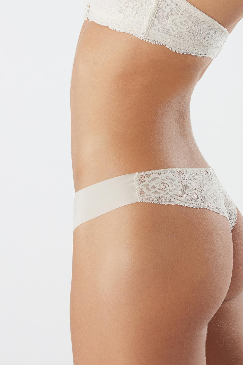 Seamless Microfibre And Lace Cheeky Briefs