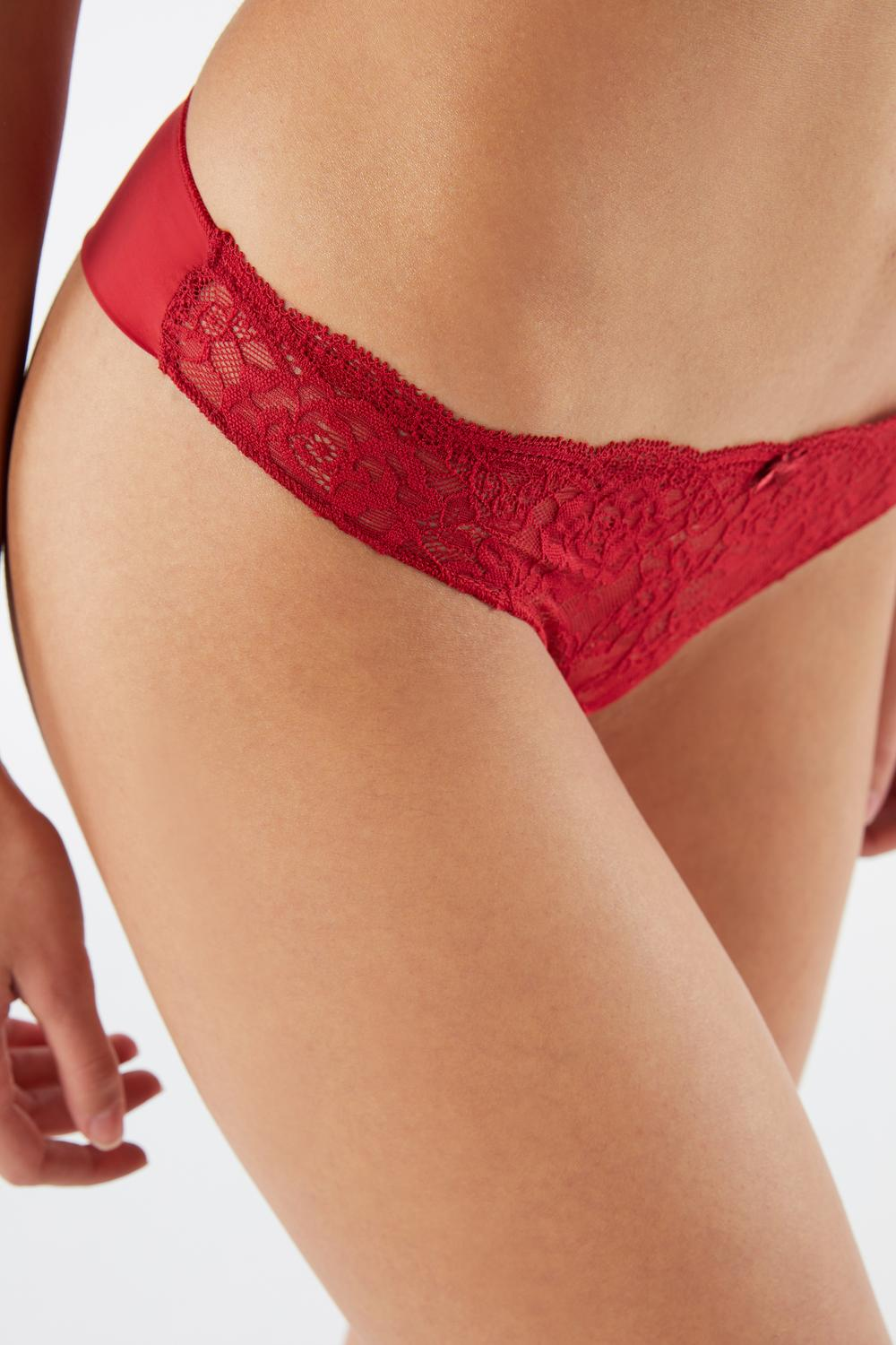 Lace and Microfibre Brazilian Briefs