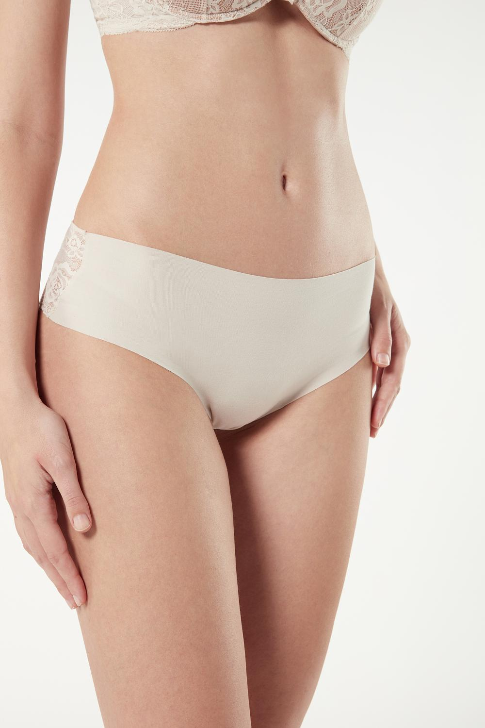 Lace and Raw-Cut Cotton French Knickers